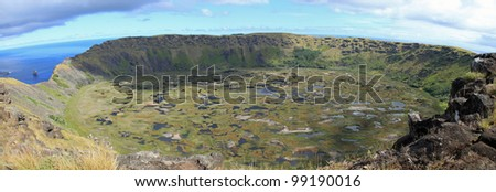 Ancient volcano crater panorama, on Easter Island in the South Pacific - stock photo