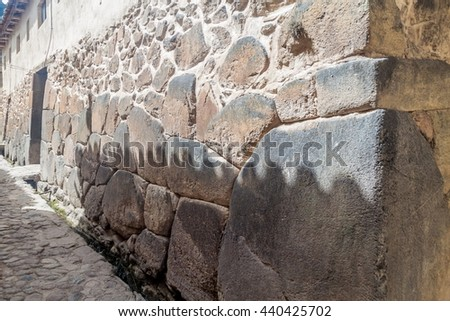 Ancient wall in Ollantaytambo village, Sacred Valley of Incas, Peru - stock photo