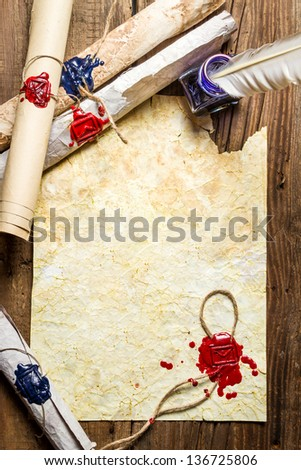 Ancient way of writing a letter sealed with sealant - stock photo