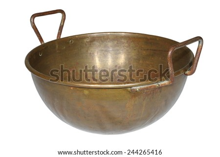 ancient weathered copper pot isolated over white background - stock photo