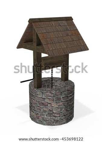 Ancient well 3d rendering - stock photo