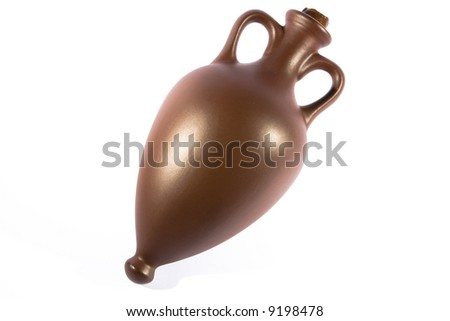Ancient wine amphora isolated on white - stock photo