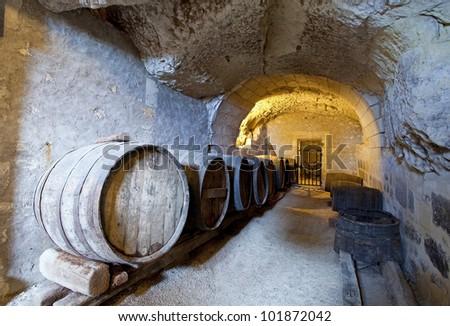 ancient wine cellar in the tuff - stock photo