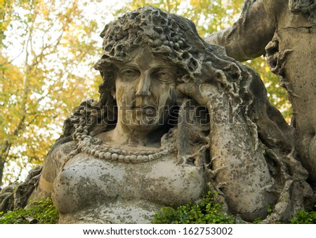 Ancient woman sculpture in Montagnola Park in Bologna, Italy. It is the oldest park in Bologna which was opened at 1664.