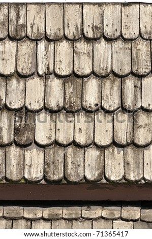 Ancient wood roof - stock photo