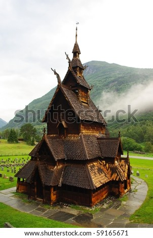 Ancient wooden church in Norway, Lyrdal - stock photo