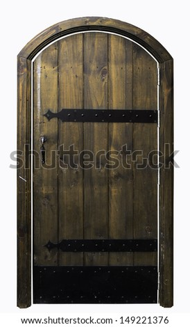 Ancient wooden door isolate on white background - stock photo