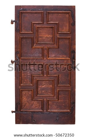 Ancient wooden door with hinges isolated on white clipping path included - stock photo