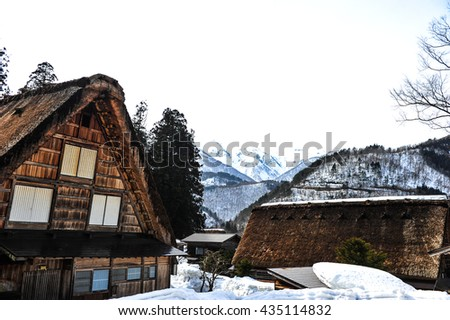 Ancient wooden house and snow in Japan