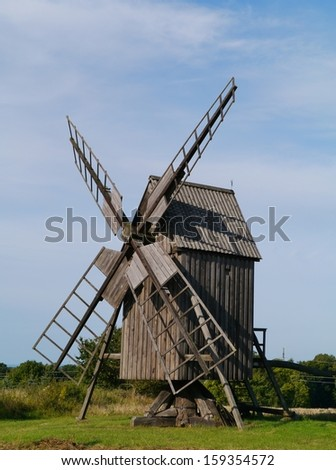 Ancient wooden mill on the Swedish island Oeland in the Baltic sea of Sweden