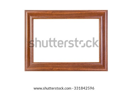 Ancient wooden photo frame isolated on white background..