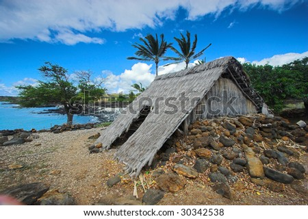 Ancient wooden temple and settlement in Hawaii