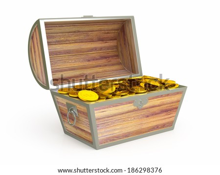 Ancient wooden treasure chest. 3d rendered image - stock photo
