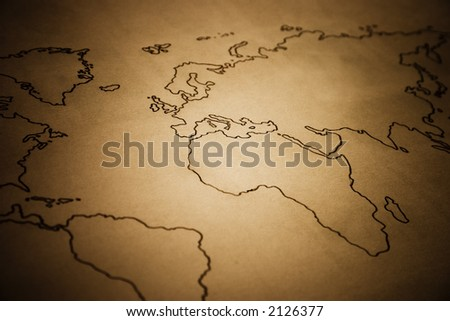 Ancient World Map. A world map designed on a old paper - stock photo