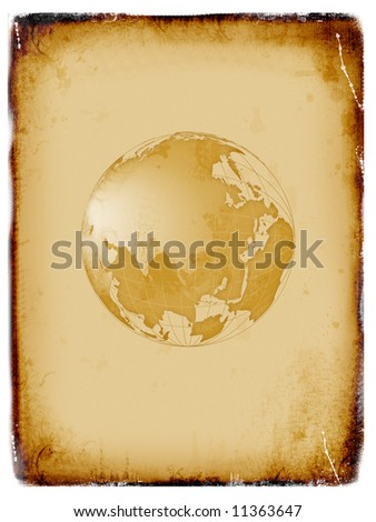 Ancient world map, globe, grunge background - stock photo