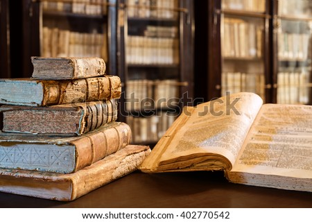 Ancients Books Of The 14th Century In Library  - stock photo
