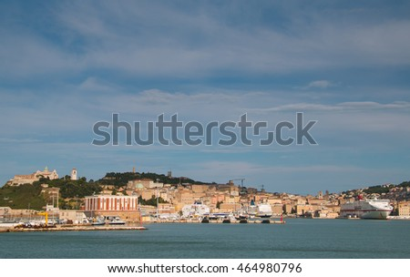 ANCONA, ITALY - AUGUST 7, 2016: Panoramic view of old harbor and Ancona city