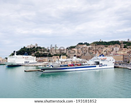 ANCONA,ITALY-MAY 07 2014 :Ferries in the port of Ancona loading and getting ready to sail - stock photo