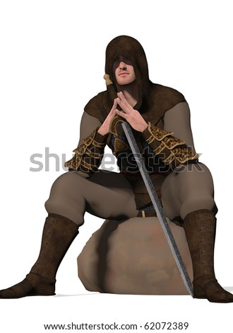 And armed warrior sits staring  (3D Render) - stock photo