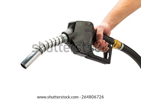 and holds a black Fuel pump nozzle isolated on white background - stock photo