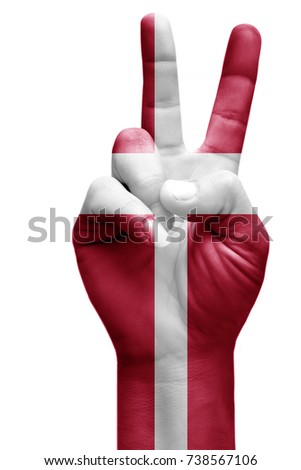 and making victory sign, Denmark painted with flag as symbol of victory, win, success - isolated on white background