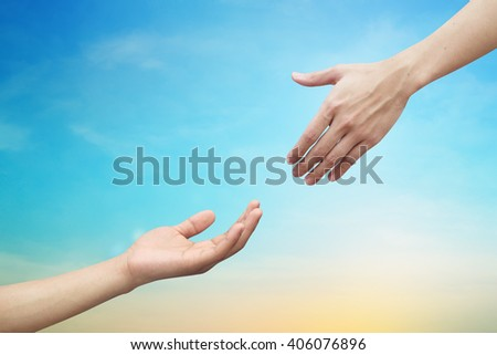 and of helping praying on blurred blue color background:healing take care poverty country concept:giving chance opportunity to poor people idea:love trust care: equality humanity right.good living - stock photo