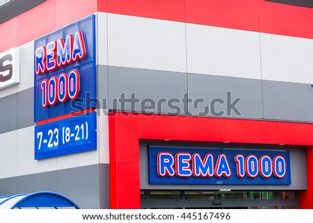 ANDALSNES, NORWAY - CIRCA JUNE 2016: Rema 1000 supermarket in Andalsnes, Norway. Rema 1000 is part of Reitan Group, retail and real estate with 3,852 stores in Europe.