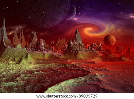 Andara, Alien Planet part 2, fantasy landscape with mystic red and purple light and mountains, moons in the background - stock photo