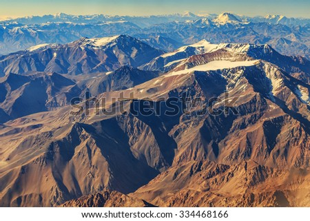 Andes from airplane - stock photo