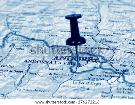 Andorra destination in the map - stock photo