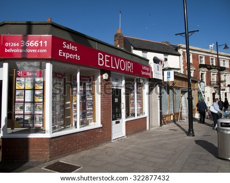 Andover, Bridge Street, Hampshire, England - September 25, 2015: Belvoir estate agent premises, residential properties for sell and to let - stock photo