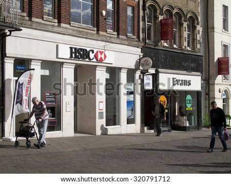 Andover, High Street, Hampshire, England - September 25, 2015: HSBC Bank local branch office, The Hongkong and Shanghai Bank - stock photo