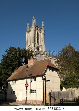 Andover, High Street, Hampshire, England - September 21, 2015: Saint Marys Parish church, 19th century Victorian Gothic building, designed by architect Augustus Livesa - stock photo