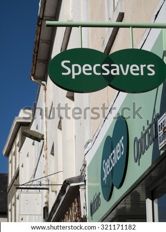Andover, High Street, Hampshire, England - September 25, 2015: Specsavers Optical Group Limited sign over opticians with over 400 stores worldwide - stock photo