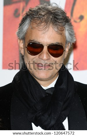 Andrea Bocelli arriving for the Classic Brit Awards 2012 at the Royal Albert Hall, London. 02/10/2012 Picture by: Steve Vas - stock photo