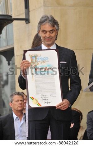 Andrea Bocelli on Hollywood Boulevard where he was honored with the 2,402nd star on the Hollywood Walk of Fame. March 2, 2010  Los Angeles, CA Picture: Paul Smith / Featureflash