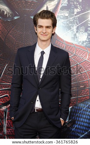 """Andrew Garfield at the Los Angeles premiere of """"The Amazing Spider-Man"""" held at the Mann Village Theater in Los Angeles, California, United States on June 28, 2012.  - stock photo"""