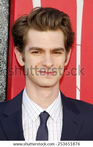 "Andrew Garfield at the Los Angeles premiere of ""The Amazing Spider-Man"" held at the Westwood Village Theater in Los Angeles, California, United States on June 28, 2012. - stock photo"