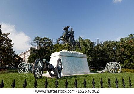 Andrew Jackson Statue Cannons President's Park Lafayette Square White House, Washington DC ,1850 Clark Mills Sculptor - stock photo