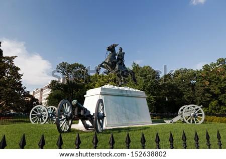 Andrew Jackson Statue Cannons President's Park Lafayette Square White House, Washington DC ,1850 Clark Mills Sculptor - stock photo