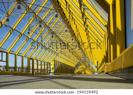 Andrew pedestrian bridge in Moscow - the view from inside. - stock photo