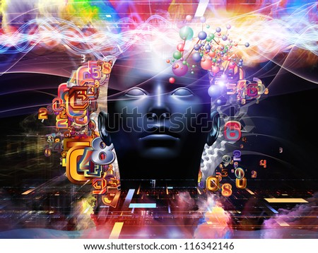 Android Dream series. Creative arrangement of human model, numbers and design elements as a concept metaphor on subject of science, information and modern technology - stock photo