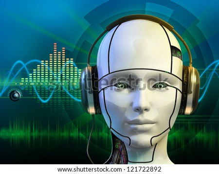 Android head wearing some headphones. Digital illustration. - stock photo