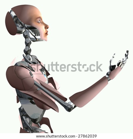Android Isolation, 3d render of cyborg making offer - stock photo
