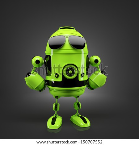 Android posing in sunglasses. Technology concept - stock photo