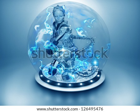 Android robot is being energized in a high tech sphere. Power Sphere, the advanced technology of powering up a robot.  Blue electricity is swirling around to enhance the feeling of being charged. - stock photo