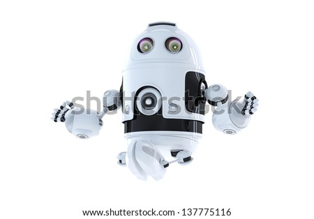 Android robot meditating. Isolated on white - stock photo