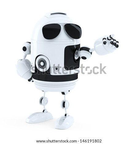 Android robot point finger to empty copy space. Isolated over white - stock photo