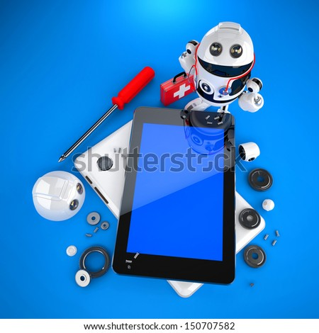 Android robot repairing tablet pc. Technology concept - stock photo