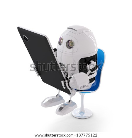 Android robot sitting with a Tablet Computer. Isolated on white background - stock photo
